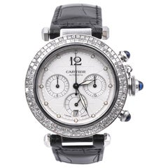 Cartier Stainless Steel Pasha Watch with Custom Diamond Bezel