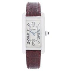 Cartier Tank Americaine 18k White Gold Men's or Ladies Midsize Watch W2603656 2