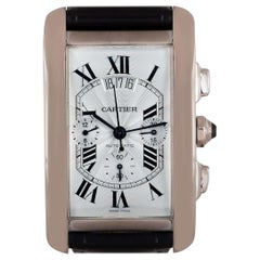 Cartier Tank Americaine XL Gents 18 Karat White Gold Silver Guilloche Dial B&P