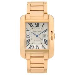 Cartier Tank Anglaise 18 Karat Rose Gold Silver Roman Dial Ladies Watch W5310003