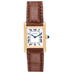 Cartier Tank Classic Paris 18 Karat Yellow Gold Brown Strap Ladies Watch