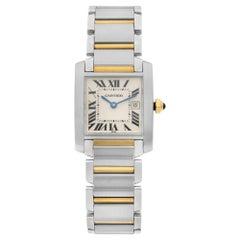 Cartier Tank Francaise 18k Gold Steel White Roman Dial Ladies Watch W51012Q4