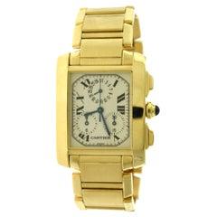 Cartier Tank Francaise Ref. 1830 Chronograph White Dial 18 Karat Gold Watch