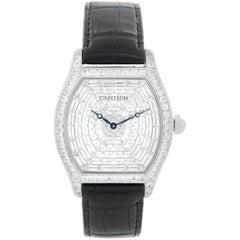 Cartier Tortue XL White Gold Diamond Dial Ladies Watch HP100502