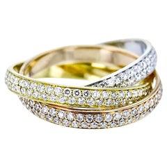 Cartier Trinity De Cartier Small Model Diamond-Paved 18 Karat Multi Gold Ring