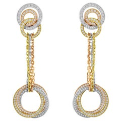 Cartier Trinity Pink, White and Yellow Gold Diamond French Clip Earrings