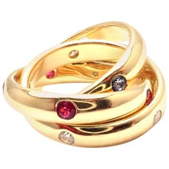 Cartier Trinity Ruby Sapphire Diamond Yellow Gold Band Ring