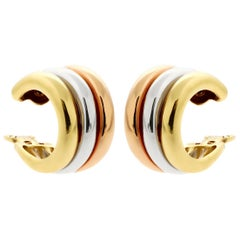 Cartier Trinity Tri Color 18 Karat Gold Hoop Earrings