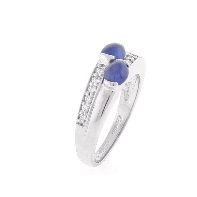 Cartier Twin Cabochon Sapphire and Diamond Ring In Excellent Condition For Sale In Bethesda, MD