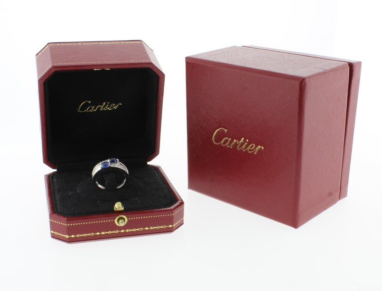 Women's or Men's Cartier Twin Cabochon Sapphire and Diamond Ring For Sale