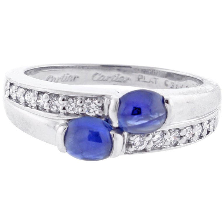 Cartier Twin Cabochon Sapphire and Diamond Ring For Sale