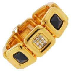 Cartier Vintage Gold Diamond Onyx Bracelet