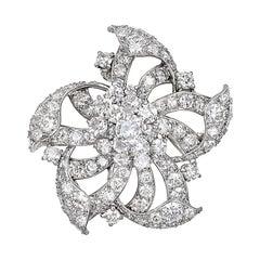Cartier Vintage Platinum Diamond Flower Brooch Pendant