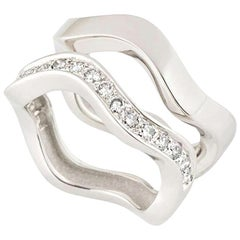 Cartier White Gold and Diamond Double Stacker Rings