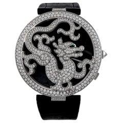 Cartier White Gold Diamond Ltd Ed Pasha De Cartier Skeleton Dragon Wristwatch