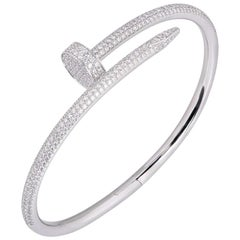 Cartier White Gold Full Pave Diamond Juste Un Clou Bracelet N6707317