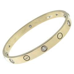 Cartier White Gold Love Bracelet, 6 Diamonds, with Box 'C-103'
