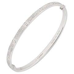Cartier White Gold Pave Diamond SM Love Bracelet N6710817