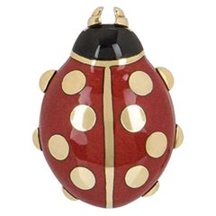 Cartier Yellow Gold Enamel Ladybird Pin/Brooch
