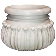Carved Marble Planter / Jardinière / Cachepot from India