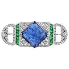 Carved Tanzanite Emerald Diamond 18 Karat White Gold Brooch