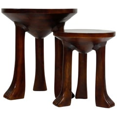 Carved Teak Three-Legged Lionfoot Side Tables in the Style of John Dickinson