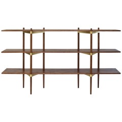 """Casey Lurie Studio Modern Low """"Primo"""" Shelving System in Walnut with Brass"""