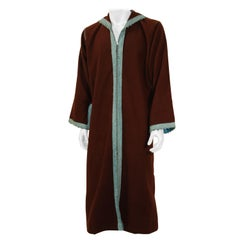 Cashmere Brown and Turquoise Caftan 1980s Robe