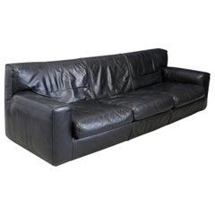 Cassina Minimal Black Leather Italian Sofa, 1970s