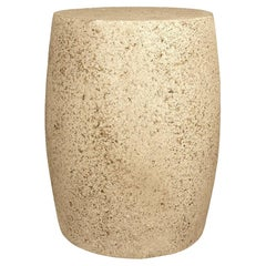 Cast Resin 'Barrel' Side Table, Natural Stone Finish by Zachary A. Design