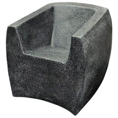 Cast Resin Curved Van Dyke' Club Chair, Coal Stone Finish by Zachary A. Design