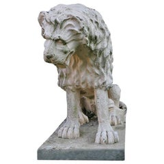 Cast Stone Renaissance Lion, Weathered White Antonio Canova Style, 1900s