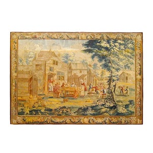 English Tapestry with Rustic Scene, 18th Century