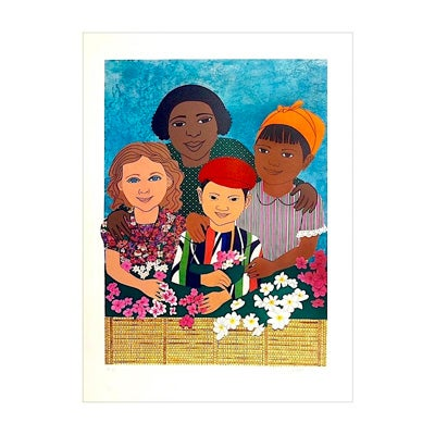 Elizabeth Catlett, Children with Flowers, 1995