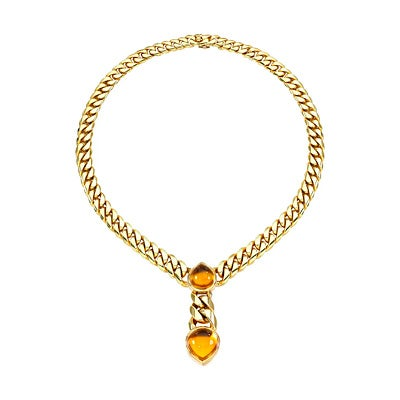 Bulgari Citrine and Gold Necklace, 1970s