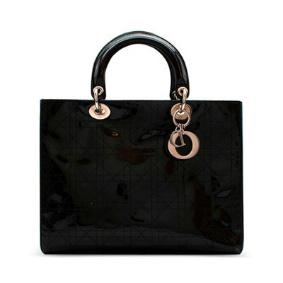 Christian Dior Black Patent Leather Lady Dior Bag, Contemporary