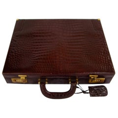 CÉLINE 24-hour Briefcase in Wild Burgundy Brown Crocodile Leather