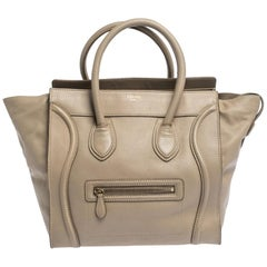 Celine Beige Leather Mini Luggage Tote