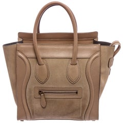 Celine Beige Suede Leather Mini Luggage Tote Bag