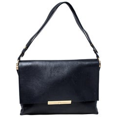 Celine Black Calfskin Leather Blade Flap Bag