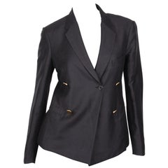 Céline Black Linen Double Breasted Longsleeve Blazer