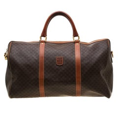 Céline Brown Macadam Coated Canvas and Leather Duffle Bag