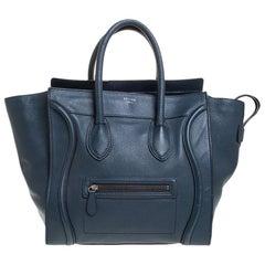 Celine Dark Blue Leather Mini Luggage Tote