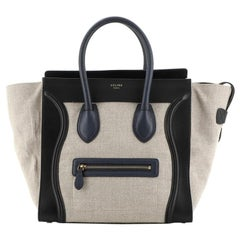 Celine Luggage Bag Canvas and Leather Mini