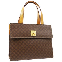 Celine Monogram Cognac Gold Kelly Style Top Handle Satchel Flap Bag