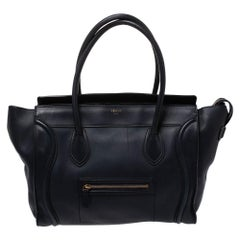 Celine Navy Blue Leather Shoulder Luggage Tote