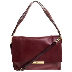 Celine Red Calfskin Leather Blade Flap Bag