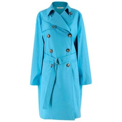 Celine Sky Blue Double Breasted Trench Coat XXS