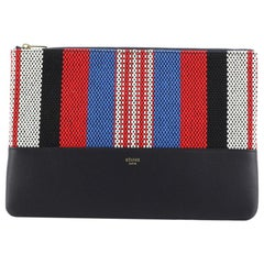 Celine Solo Clutch Striped Canvas and Leather Small