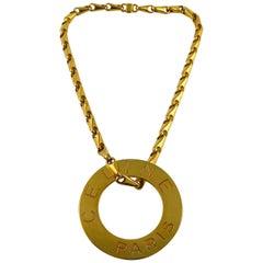 Celine Vintage 1990 Massive Gold Toned Disc Pendant Necklace